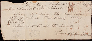Receipt for Exeter Hay Scales, Exeter, New Hampshire, dated February 23, 1853