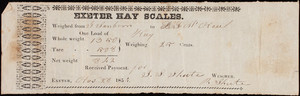 Receipt for Exeter Hay Scales, Exeter, New Hampshire, dated November 28, 1854