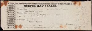 Receipt for Exeter Hay Scales, Exeter, New Hampshire, dated December 14, 1854