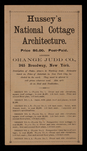 Brochure for Hussey's national cottage architecture, Orange Judd Co., 245 Broadway, New York, New York