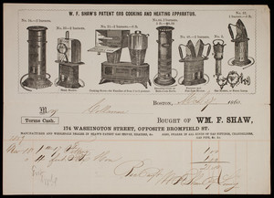 Billhead for W.F. Shaw's Patent Gas Cooking Heating Apparatus, stoves, 174 Washington St., opposite Bromfield Street, Boston., Mass., dated March 7, 1860