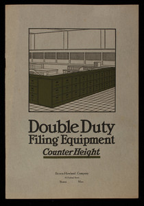 Double duty filing equipment, counter height, illustrated & described, announcing the Low Vision office, the Shaw-Walker Company, Muskegon, Michigan