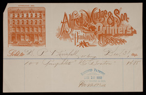 Billhead for Alfred Mudge & Son, book and commercial printing, 24 Franklin Street, Boston, Mass., dated December 31, 1892