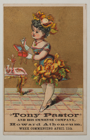 Trade cards for Tony Pastor and his immense company, Howard Atheneum, Boston, Mass.