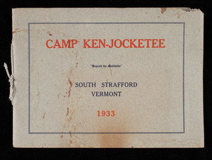 Camp Ken-Jocketee, a camp for girls in the hills of Orange County, Vermont, twenty-first season 1933, South Strafford, Vermont