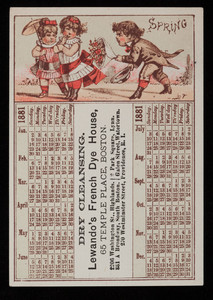 Calendar, Lewando's French Dye House, 65 Temple Place, Boston, Mass., undated