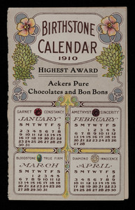 Birthstone calendar 1910, Ackers pure chocolates and bon bons, Finley Acker Co., Atlantic City, New Jersey