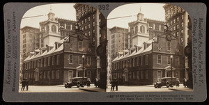 Historic center of stirring revolutionary scenes, Old State House from Court Street, Boston, Mass.