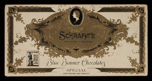 Box, Schrafft's blue banner chocolates, W.F. Schrafft & Sons Corp., Boston, Mass.