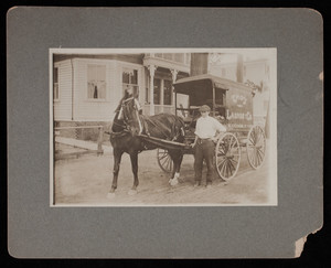 Pawtucket, Rhode Island streetscape with Troy Laundry Company horse drawn carriage, circa 1910