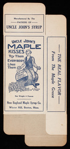 Box, Uncle John's Maple Kisses, New England Maple Syrup Co., Winter Hill, Boston, Mass.