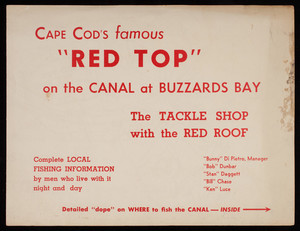 """Cape Cod's Famous """"Red Top"""" on the Canal at Buzzards Bay Tackle Shop advertisement"""