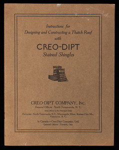 Instructions for designing and constructing a thatch roof with Creo-Dipt Stained Shingles, Creo-Dipt Company, Inc, North Tonawanda, New York