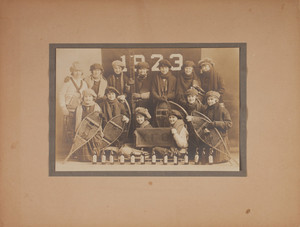 Colby College sorority women with snowshoes and cross country skis, 1923