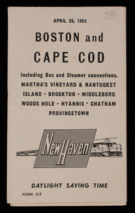 Boston and Cape Cod railroad schedue including bus and steamer connections, 1953 (2)