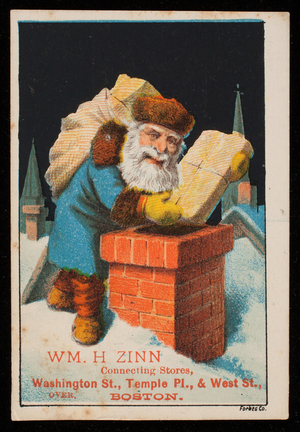 Trade card for Wm. H. Zinn, first class goods from all parts of the world at retail, 501 Washington Street, 55 Temple Place and 5 West Street, Boston, Mass., undated