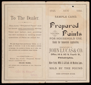 Sample card, prepared paints for household use, manufactured by John Lucas & Co., office, 141 & 143 N. Fourth Street, Philadelphia and Wm. E. Lucas, 89 Maiden Lane, New York, New York