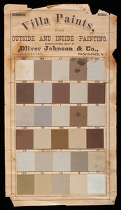 Villa Paints for outside and inside painting, manufactured only by Oliver Johnson & Co., Providence, Rhode Island