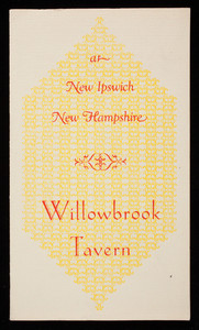 Brochure, Willowbrook Tavern at New Ipswich, New Hampshire