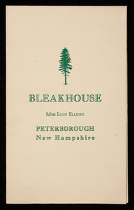 Brochure, Bleak House, Peterborough, New Hampshire