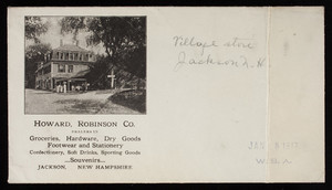 Envelope, Howard, Robinson Co., dealers in groceries, hardware, dry goods, footwear and stationery, Jackson, New Hampshire