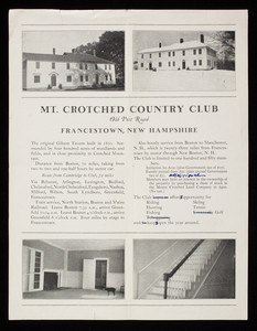 Flyer for Mt. Crotched Country Club, Old Post Road, Francestown, New Hampshire