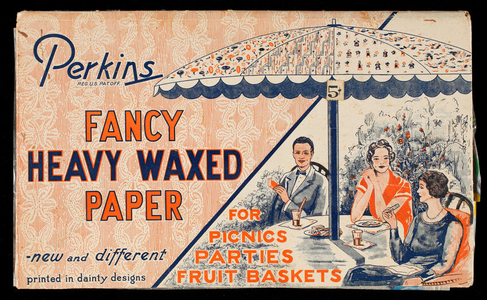 Perkins Fancy Heavy Waxed Paper for picnics, parties, fruit baskets, American Tissue Mills, Holyoke, Mass.