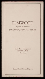 Brochure, Elmwood by the Merrimac, Boscawen, New Hampshire