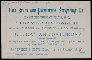 Trade card, Fall River and Providence Steamboat Co.
