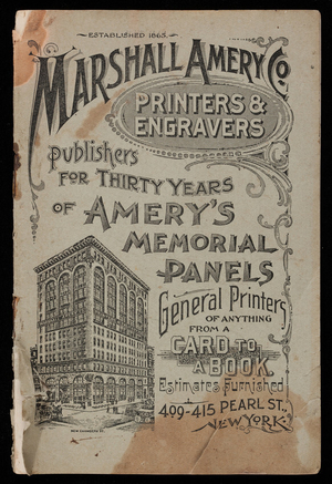 Marshall Amery Co., printers & engravers, 499-415 Pearl Street, New York, New York