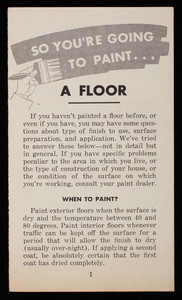 So you're going to paint a floor, Bay State Paints, Wadsworth, Howland & Co., Boston, Mass.