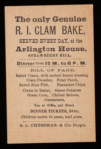 Trade card, the only genuine R.I. clam bake, served every day, at the Arlington House, Strawberry Hill, Bethlehem, New Hampshire