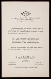 Ripolin, an imported enamel paint, colonial series for architects no. 13, J.A. & W. Bird & Co., distributors for North America, 88 Pearl Street, Boston, Mass.