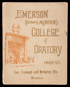 Emerson, formerly Monroe, College of Oratory 1892-93, corner Tremont and Berkeley Streets, Boston, Mass.