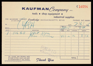 Billhead C16054, Kaufman Company, Inc., tools, shop equipment, industrial supplies, 190 Munroe Street at Sixth Street, Cambridge, Mass.