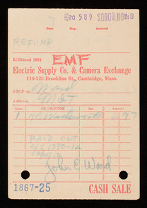 Billhead 1867-25, April 20, EMF Electric Supply Co. & Camera Exchange, 110-120 Brookline Street, Cambridge, Mass.
