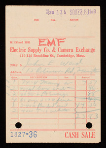 Billhead 1827-36, January 25, EMF Electric Supply Co. & Camera Exchange, 110-120 Brookline Street, Cambridge, Mass.
