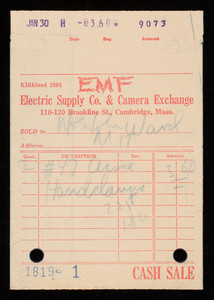 Billhead 1819-1, January 30, EMF Electric Supply Co. & Camera Exchange, 110-120 Brookline Street, Cambridge, Mass.