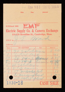 Billhead 1830-18, January 30, EMF Electric Supply Co. & Camera Exchange, 110-120 Brookline Street, Cambridge, Mass.