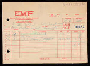 Billhead 16634, June 10, 1953, EMF Electric Supply Co. & Camera Exchange, 110-120 Brookline Street, Cambridge, Mass.