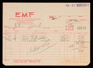 Billhead 00518, August 31, 1962, EMF Electric Supply Co. & Camera Exchange, 110-120 Brookline Street, Cambridge, Mass.