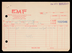 Billhead 103546, July 19, 1962, EMF Electric Supply Co. & Camera Exchange, 110-120 Brookline Street, Cambridge, Mass