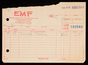 Billhead 103543, July 19, 1962, EMF Electric Supply Co. & Camera Exchange, 110-120 Brookline Street, Cambridge, Mass