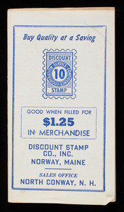 Buy quality at a saving, save Discount Stamps today, Discount Stamp Co., Inc., Norway, Maine, sales office North Conway, New Hampshire