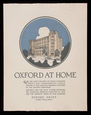 Oxford at home, Oxford-Print, 881 Commonwealth Avenue, Boston, Mass.