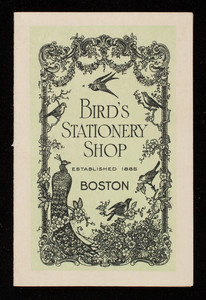 Calendar, Bird's Stationery Shop, Boston, Mass.