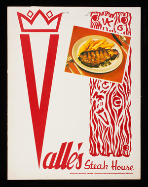 Menu, Valle's Steak House, Greater Boston, Mass., Portland, Scarborough, Kittery, Maine