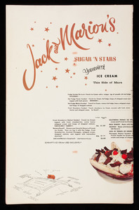 Menu, Jack and Marion's, glamorous moments in glorious eating, 4 Coolidge Corner, Brookline, Mass.