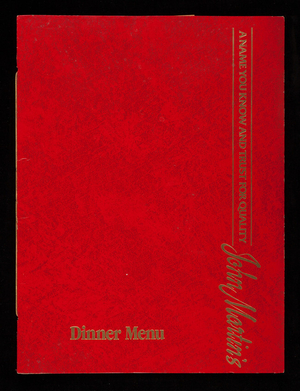 John Martin's dinner menu, John Martin Enterprises, Portland, Maine