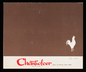Menu, Chanticleer, Rowley Club, Inc., Route 133, Rowley, Mass.
